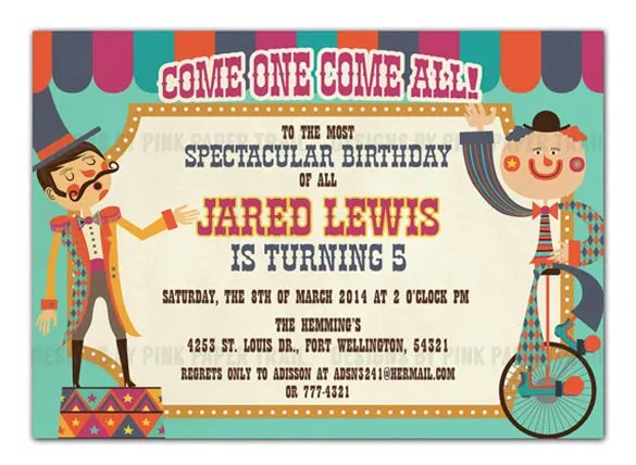 Circus Party Invitation Template - 23+ Free JPG, PSD Format - circus party invitation