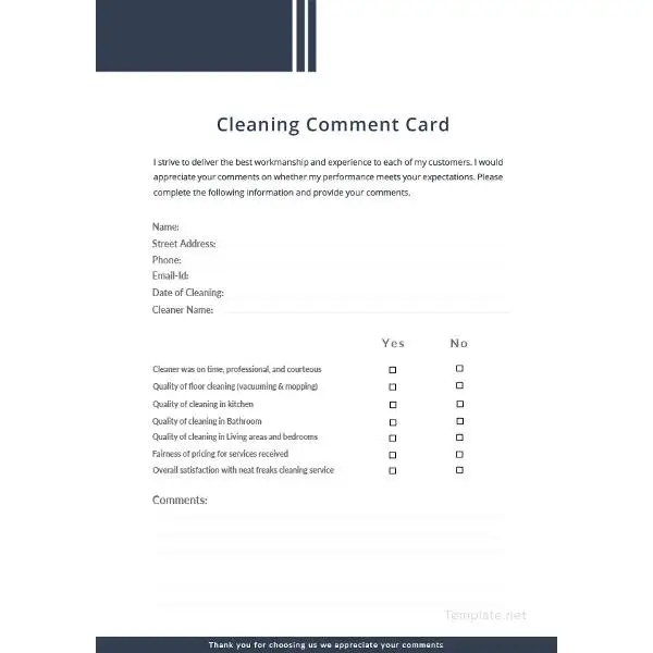 Comment Card Template \u2013 24+ Free Printable Sample, Example, Format
