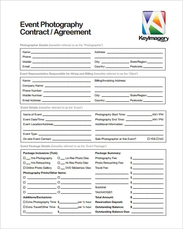 9+ Commercial Photography Contract Templates - Free Word, PDF