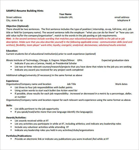 Internship Resume Template \u2013 11+ Free Samples, Examples,PSD, Format - resume for internship template