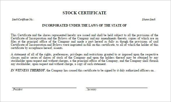 Share Stock Certificate Template \u2013 21+ Free Word, PDF Format - create a voucher template