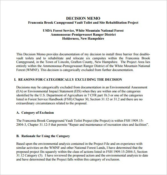 8+ Decision Memo Templates \u2013 Free Word, PDF Documents Download - project memo template