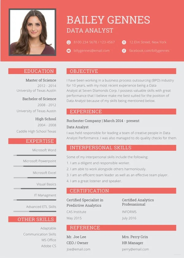 Data Entry Resume Template - 11+ Free Word, Excel, PDF Format