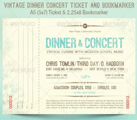 Ticket Templates \u2013 99+ Free Word, Excel, PDF, PSD, EPS Formats - Concert Ticket Templates