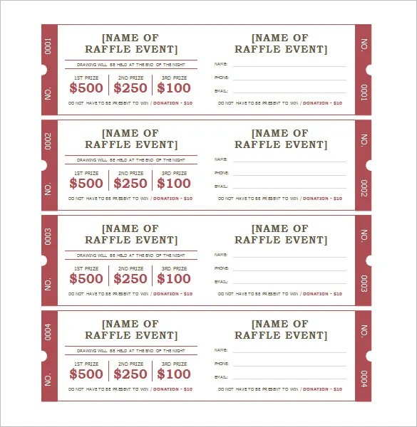 Free Raffle Ticket Template. Formats Of Resignation Letter