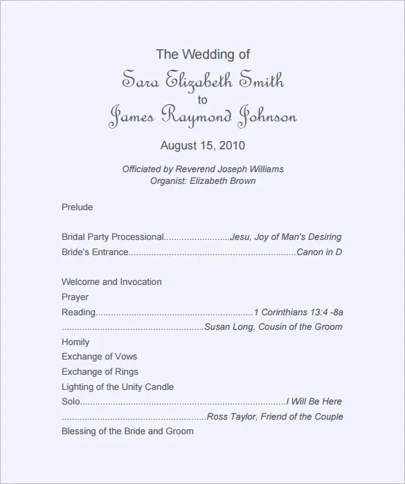 Wedding Ceremony Programs Template | Sample Customer Service Resume