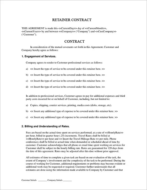 4+ Retainer Contract Templates u2013 Free Word, PDF Format Download - consulting retainer agreement