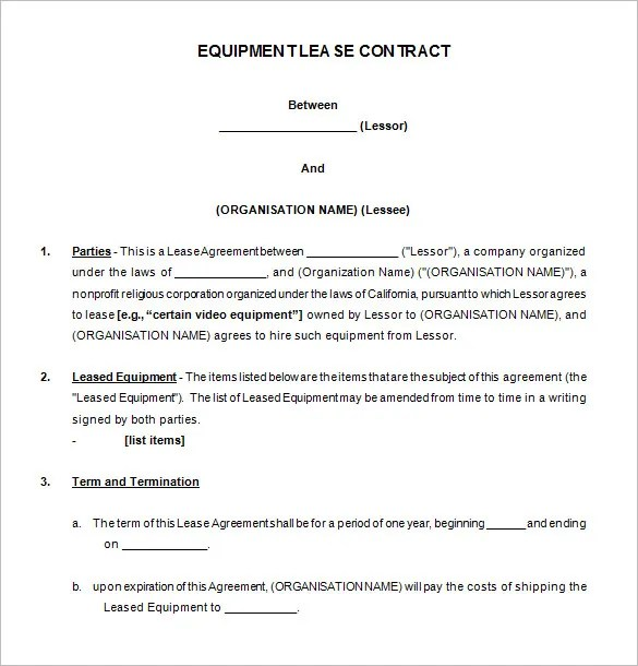 equipment lease agreement template free - Muck.greenidesign.co