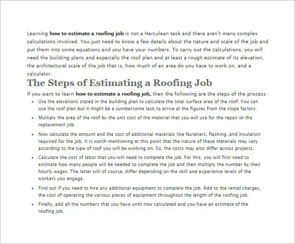 Roofing Estimate Template u2013 10+ Free Word, Excel \ PDF Documents - roofing contract template