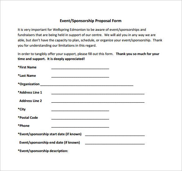 Bid Proposal Form Proposal Form Product Proposal Forms - 8+ Free - bid proposal forms