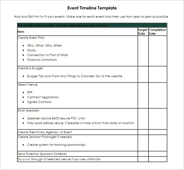 9 Event Timeline Templates Free Sample Example Format How To Make - timeline format for word