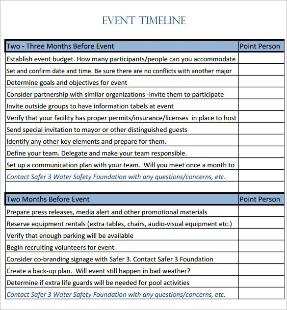 9+ Event Timeline Templates \u2013 Free Sample, Example, Format Download
