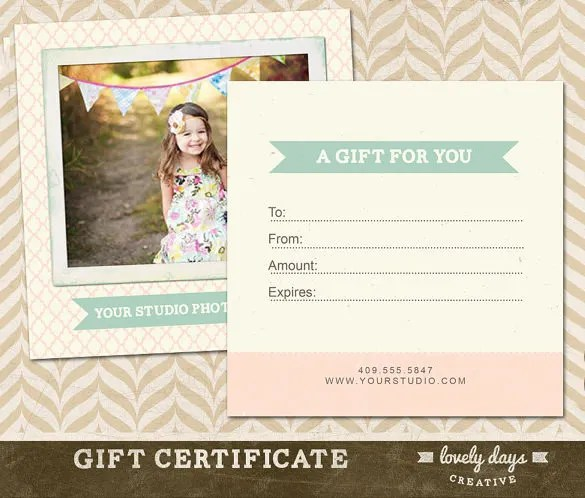 Photography Gift Certificate Templates \u2013 17+ Free Word, PDF, PSD