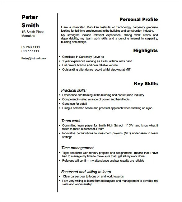Carpenter Resume Example - Examples of Resumes