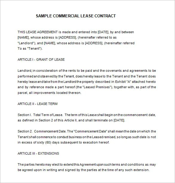 9+ Lease Contract Templates \u2013 Free Word, PDF Documents Download - lease contract format