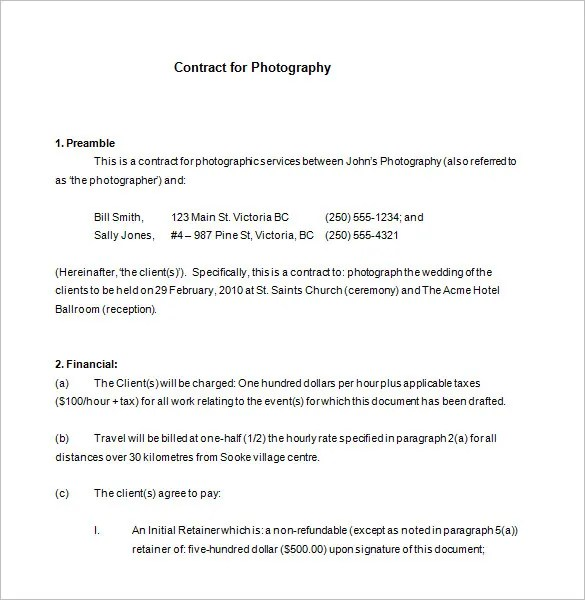 7+ Commercial Photography Contract Templates - Free Word, PDF