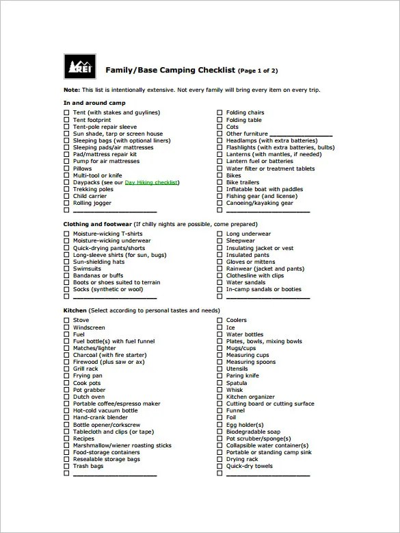 Camping Checklist Templates \u2013 20+ Free Word, Excel, PDF Documents