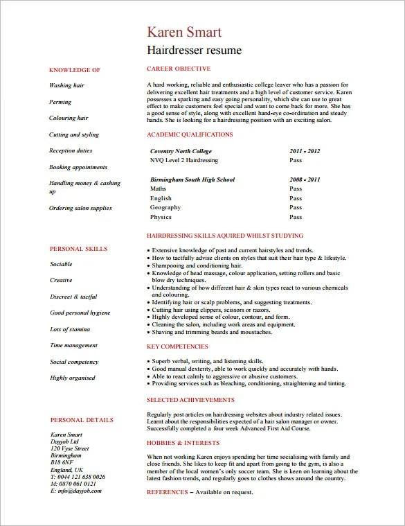 8+ Hair Stylist Resume Templates - DOC, PDF Free  Premium Templates