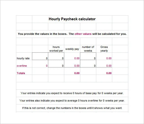 9+ Salary Paycheck Calculator \u2013 Free Word, Excel, PDF Format - paycheck format