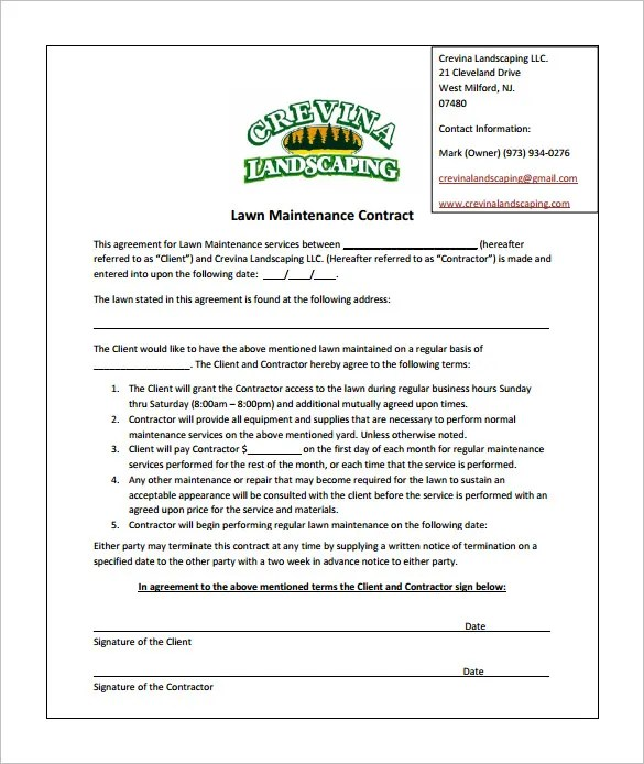 lawn contract - Jolivibramusic - maintenance agreement