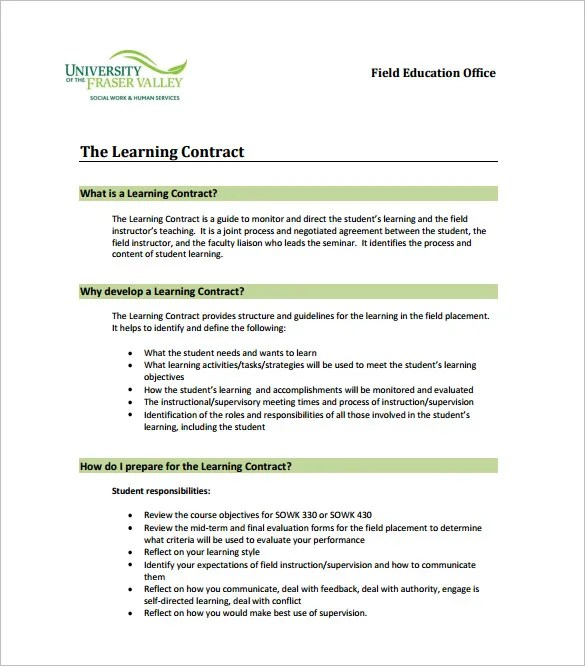 7+ Learning Contract Templates \u2013 Free Word, PDF Documents Download