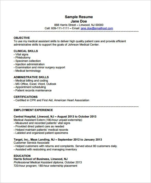 Captivating Medical Assistant Resume Objectives Medical Assistant Resume Sample Aploon  Medical Assistant Resume Objectives