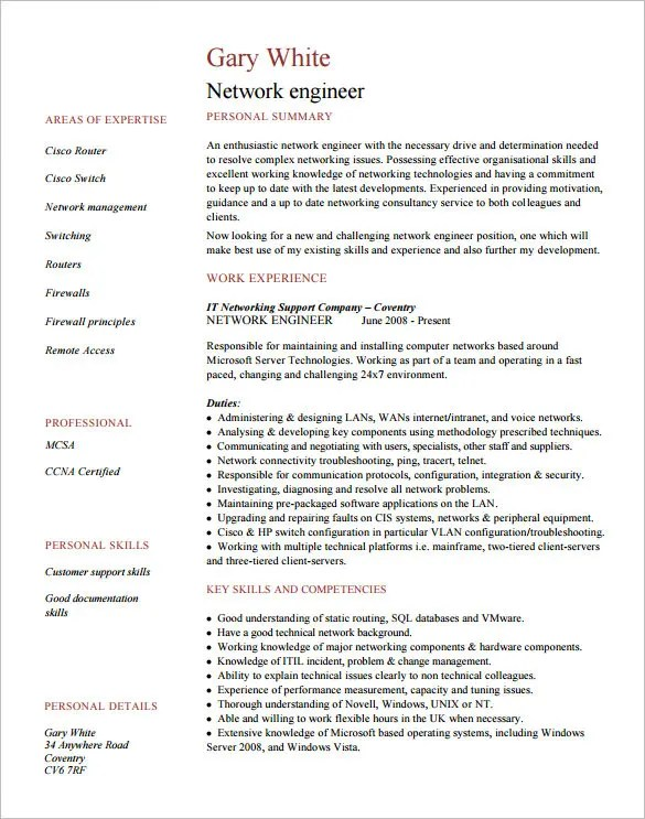 network engineer resume format 3slufsluidsprekers
