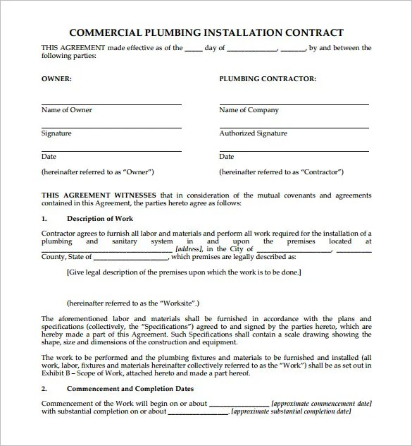 5+ Plumbing Contract Templates u2013 Free Word, PDF Format Download - free construction contracts templates