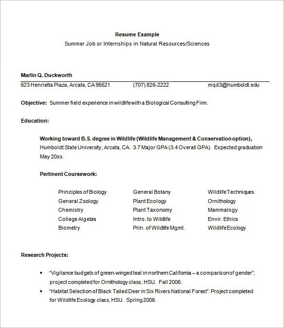 Internship Resume Template \u2013 11+ Free Samples, Examples,PSD, Format - sample college internship resume