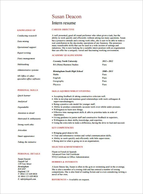 Internship Resume Template \u2013 11+ Free Samples, Examples,PSD, Format