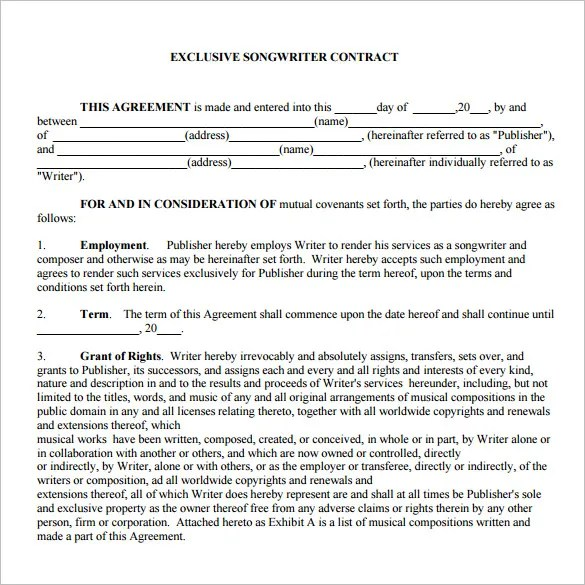 20+ Music Contract Templates - Word, PDF, Google Docs, Apple Page