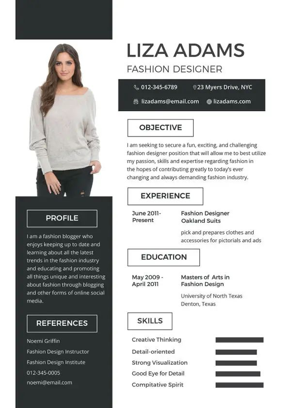 fashion designer cv