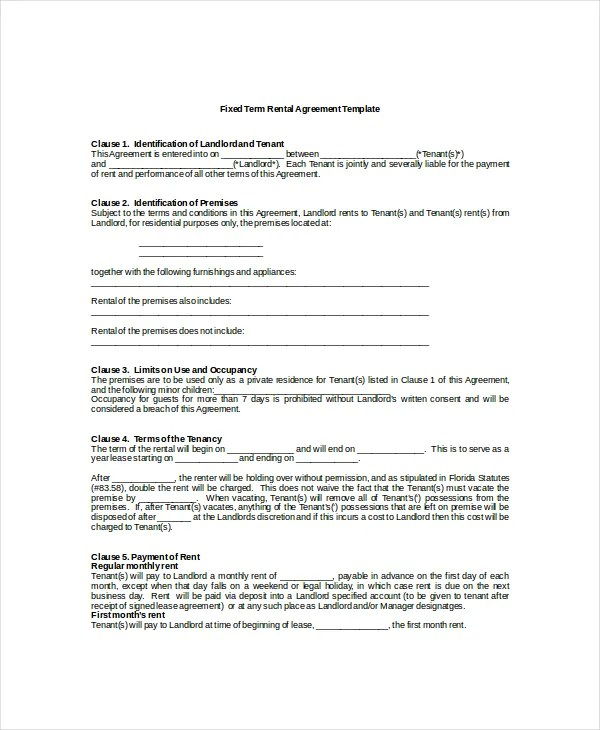 19+ Rental Agreement Templates - Free Word, PDF Format Download