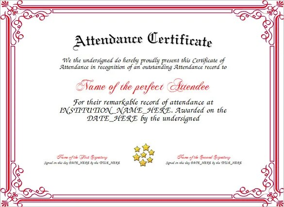 Attendance Certificate Templates - 24+ Free Word, PDF Documents - free perfect attendance certificate template