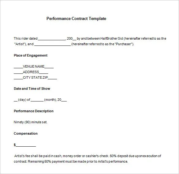 performance contract template - Ozilalmanoof