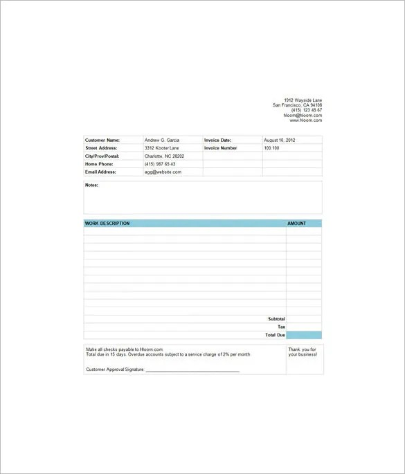 7+ Estimate Invoice Templates \u2013 Free Word, PDF  Excel Documents