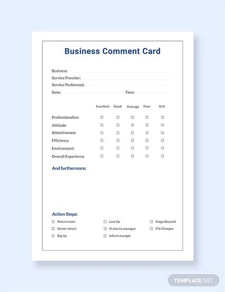 Free comment cards for restaurants templates