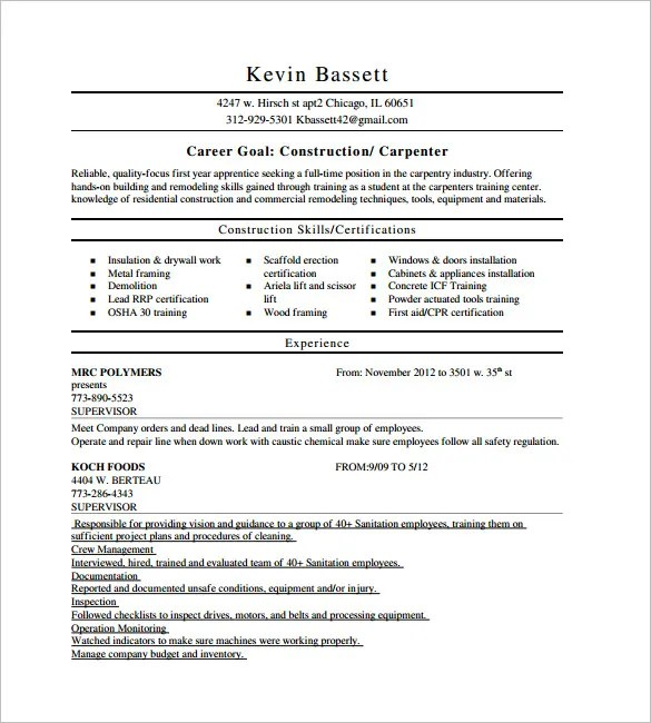 Gallery of Carpenter Resume Examples - Carpenter Resume Templates