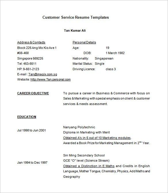 Customer Service Resume Template \u2013 8+ Free Samples, Examples, Format - examples of resumes for customer service