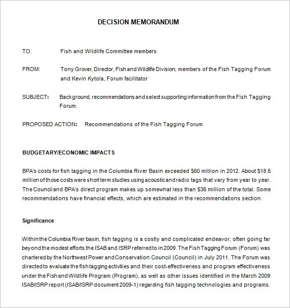 8+ Decision Memo Templates - Free Word, PDF Documents Download