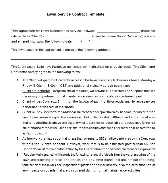 sample lawn care contract radiovkm - maintenance service contract sample