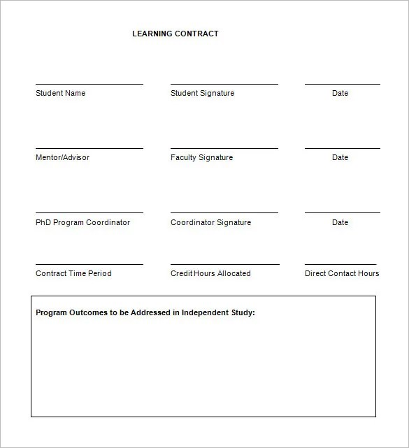 7+ Learning Contract Templates  Samples - PDF, Google Docs Free