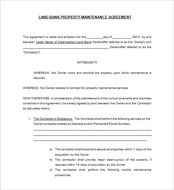 13+ Maintenance Contract Templates - Free Word, PDF Documents - sample maintenance contract template