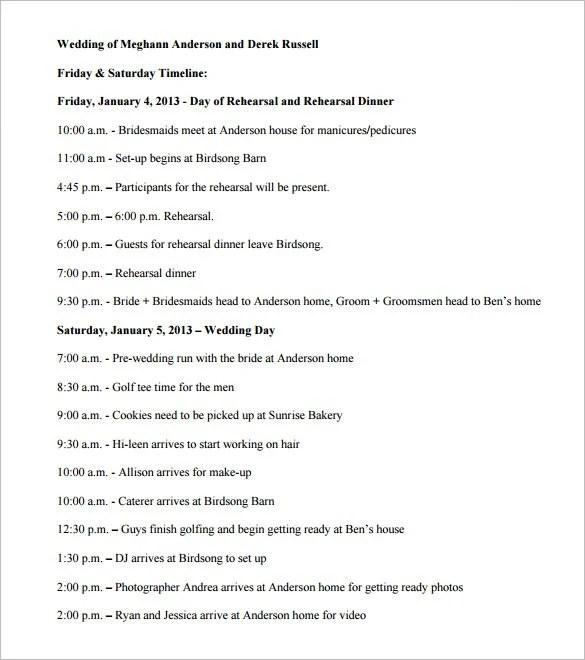 34+ Wedding Timeline Templates \u2013 Free Sample, Example, Format