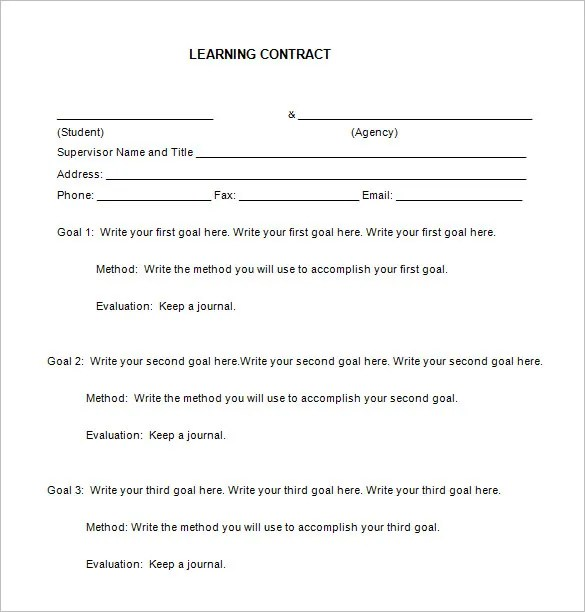 7+ Learning Contract Templates \u2013 Free Word, PDF Documents Download - Student Contract Templates