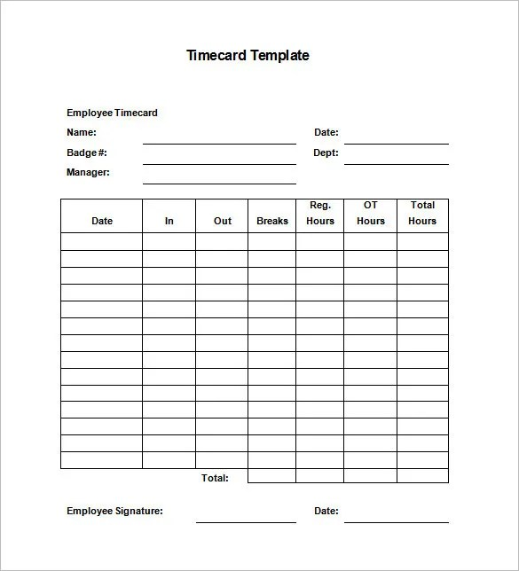 8+ Printable Time Card Templates \u2013 Free Word, Excel  PDF Format - employee time card
