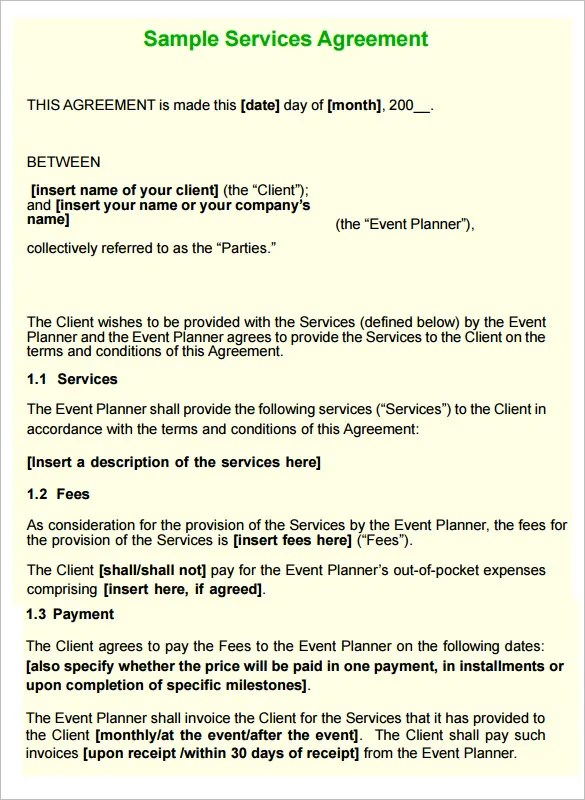 Free Event Planner Contract Template  NodeCvresume