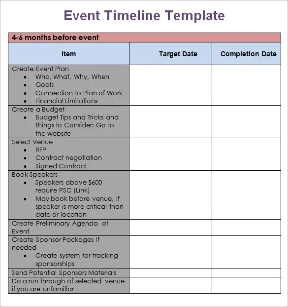 9+ Event Timeline Templates \u2013 Free Sample, Example, Format Download - Day Of Event Timeline Template