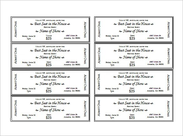 printable tickets template free - Ozilalmanoof - Free Ticket Template Printable
