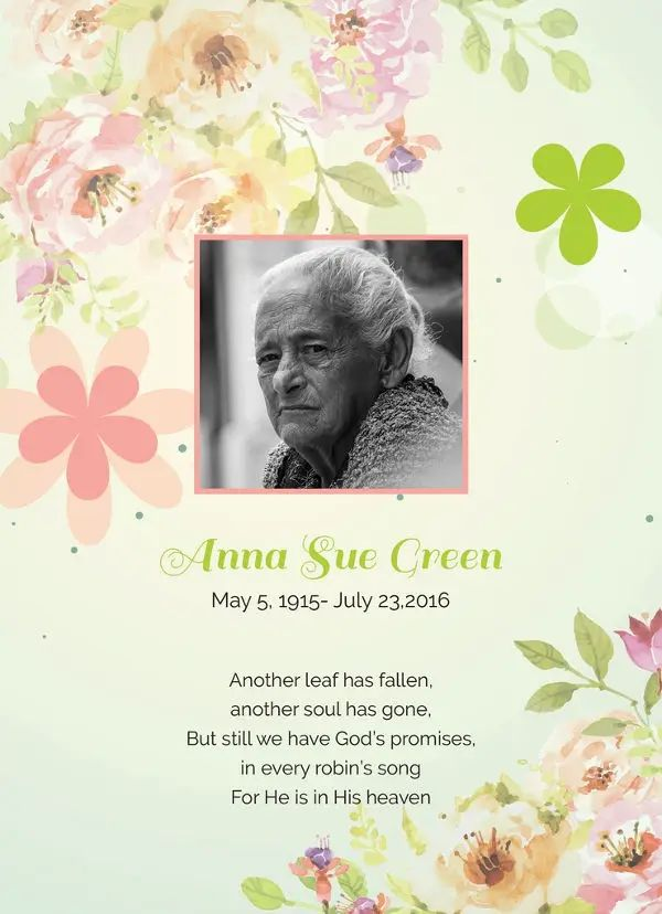 free funeral cards